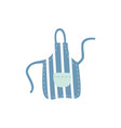 blue kitchen stripe apron with pocket in flat vector image vector image