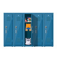 blue metal cabinets with school items vector image vector image