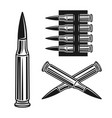 bullet and bandolier set objects vector image