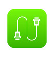 cable wire computer icon digital green vector image