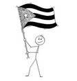 cartoon of man waving the flag of republic of cuba vector image