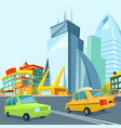 cartoon urban landscape with modern buildings vector image vector image