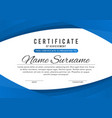 certificate template in elegant blue color vector image