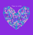 colorful polygon heart icon on proton purple vector image vector image