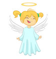 cute christmas girl angel character vector image vector image
