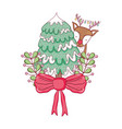 cute christmas reindeer with pine tree vector image vector image