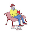 cute old man sitting on a park bench reading a vector image vector image