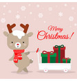 cute reindeer cartoon carrying chirstmas gifts vector image