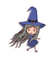 cute witch flying in watercolor silhouette vector image vector image