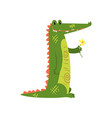 friendly crocodile standing with flower funny vector image vector image