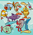 funny fish cartoon characters group vector image vector image