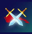game element with crossed magic swords vector image vector image
