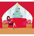 girl drinking coffee on Christmas morning vector image vector image