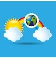 globe earth weather meteorology cloud rainbow vector image vector image