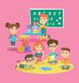 group of children with teacher in kindergarten vector image