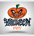 halloween party with pumpkin vector image
