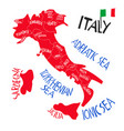 hand drawn stylized map italian republic vector image vector image
