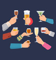 hands hold alcoholic drinks man and woman with vector image