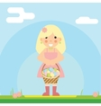 happy girl with basket easter eggs sky vector image vector image