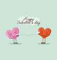 happy valentines day card cute kawaii hearts vector image