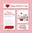 happy valentines day card with heart and pink vector image