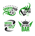icons soccer sport bar or football beer pub vector image vector image