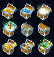 isometric treasure chests collection vector image vector image