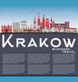 krakow poland city skyline with color buildings vector image vector image