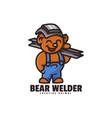 logo bear welder mascot cartoon style vector image vector image