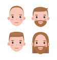 male heads shaved and bearded with hairstyles set vector image