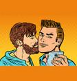 men couple friendship meeting smartphone selfie vector image