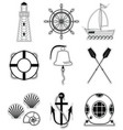 Nautical elements 1 sticker style vector image