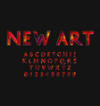 new art font and alphabet numbers and vector image vector image
