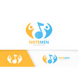 note and people logo combination music and vector image vector image