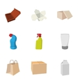 Package icons set cartoon style vector image vector image