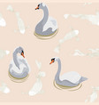 pattern with white swans and japanese koi carps vector image vector image