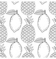 pineapples and lemons seamless pattern with hand vector image vector image