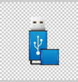 realistic blue usb flash drive isolated object vector image vector image