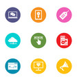 remote machine icons set flat style vector image vector image