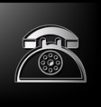 retro telephone sign gray 3d printed icon vector image vector image