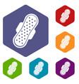 sanitary napkin icons set hexagon vector image vector image
