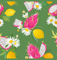 seamless pattern with dragon fruits pitaya lemon vector image