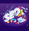 seo analysis isometric composition vector image