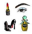 set lipstick eyes vector image vector image
