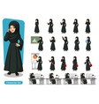 set of arab businesswoman in black dress vector image