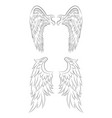 set of different contour drawing of an angel wings vector image