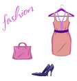 set of trendy women s things on a white vector image vector image