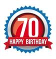 Seventy years happy birthday badge ribbon vector image vector image
