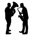 silhouette of musician playing the saxophone and vector image