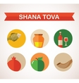 six icons for Rosh Hashana Jewish holiday Happy vector image vector image